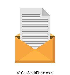 ouvert, enveloppe, lettre, courrier