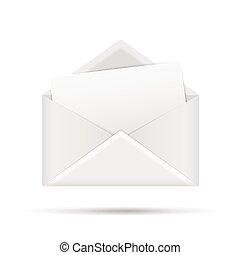 ouvert, enveloppe, lettre