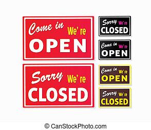ouvert, fermé, magasin, signes