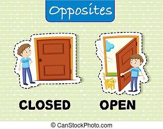 ouvert, fermé, mots, opposé