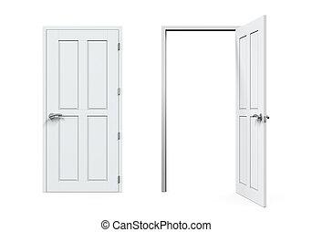 ouvert, fermé, portes, isolé