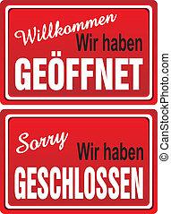 ouvert, (german), -, signes fermés
