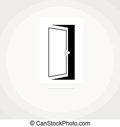 ouvert, icône, porte