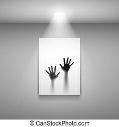 ouvert, image, mains, deux