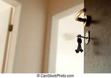 ouvert, keys., porte