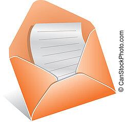 ouvert, lettre, enveloppe