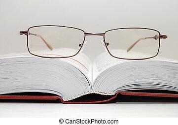 ouvert, lunettes, pose, livre