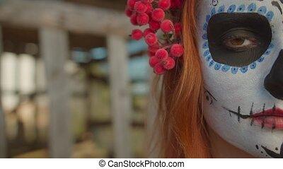 ouvert, maquillage, demie face, oeil femme, crâne, sucre