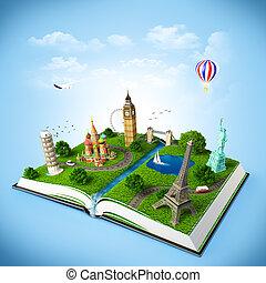 ouvert, monuments., célèbre, livre, illustration, voyager