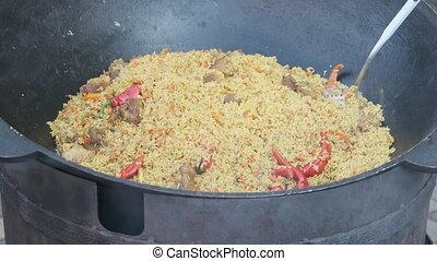 ouvert, ou, riz, cuve, grand, fire., fête, pilaf, nourriture, cuit, rue, sur