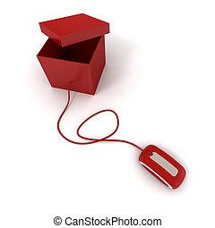 ouvert, paquet, rouges, ligne