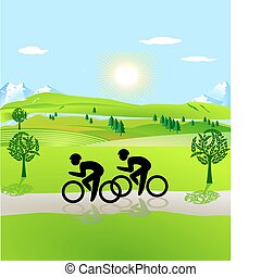 ouvert, paysage, aller bicyclette