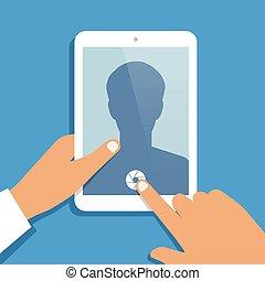 ouvert, pc tablette, appareil photo, humain, tient, main, app., vecteur, fond