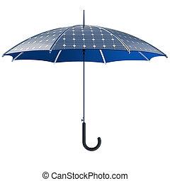 ouvert, photovoltaïque, concept, parapluie, crosse