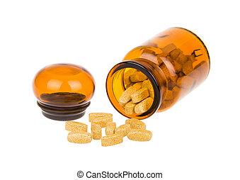 ouvert, pilules, bouteille