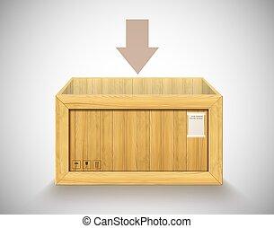ouvert, récipient, exportation, expédition, rectangulaire, vecteur, bois