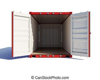 ouvert, récipient, vide, cargaison