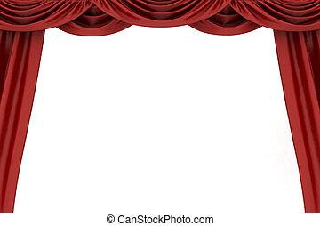 ouvert, rideau rouge, théâtre