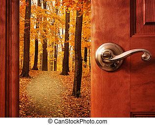 ouvert, saison, porte, automne, rêve
