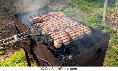 ouvert, saucisses, brûler, frire, sur