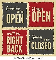 ouvert, signes fermés