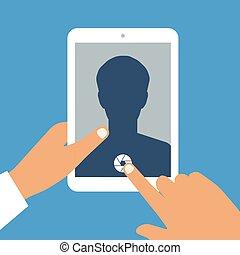 ouvert, tablette, app, tient, main, pc, appareil photo, humain