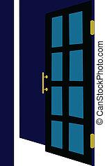 ouvert, vecteur, porte, illustration