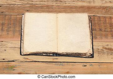 ouvert, vieux, bois, vendange, livre, table