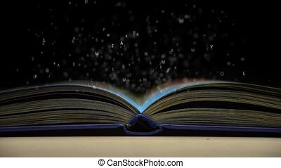 ouvert, voler, lettres, livre, dehors