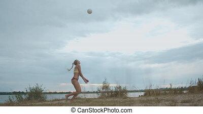 ouvert, volley-ball, servir, équipe, balle, plage, tribunal...