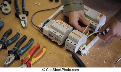 ouverture, électrique, produit, haut, switchboard., crochet