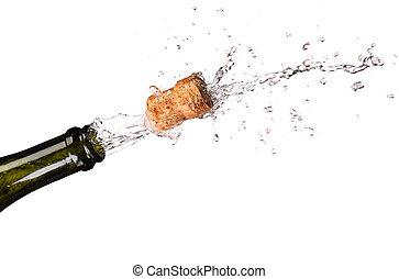 ouverture, a, bouteille, de, champange