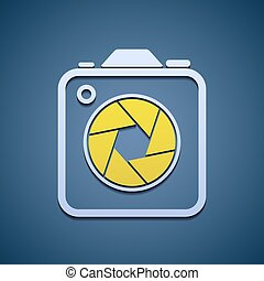 ouverture, appareil-photo., icône