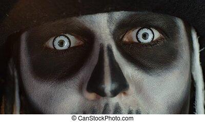 ouverture, blanc, panique, halloween, gros plan, yeux, ...
