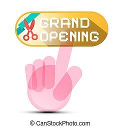ouverture, bouton, main, grandiose, ciseaux, ruban