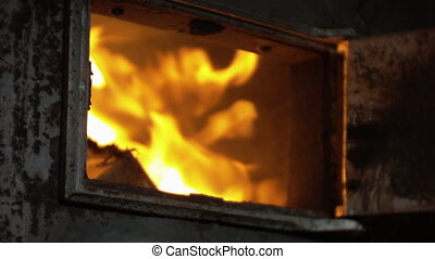 ouverture, et, fermer, les, porte, de, a, bois, stove.