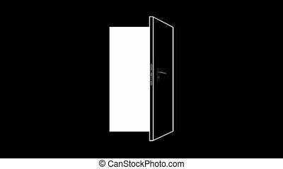 ouverture, fermer, noir, door., monochrome, blanc, arrière-...