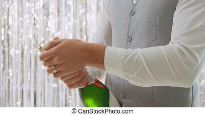 ouverture, homme, champagne, jeune