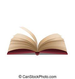 ouverture, illustration, fond, vector., blanc, livre, rouges