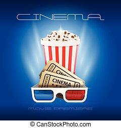 ouverture, pop-corn, 3d, cinéma, lunettes, -, premier, film, boîte, nuit, première, billets