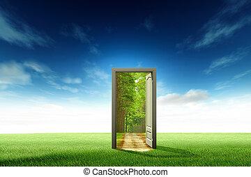 ouverture porte, à, les, nouveau monde, pour, ambiant, concept, et, idée