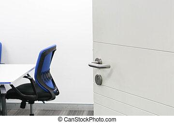 ouverture porte, de, salle réunion