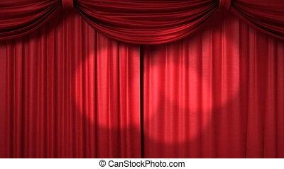 ouverture, rideau, rouges, fermer