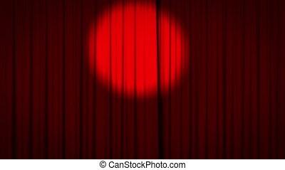 ouverture, rideau, rouges, projecteur