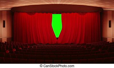 ouverture, rideaux, (cinema), théâtre