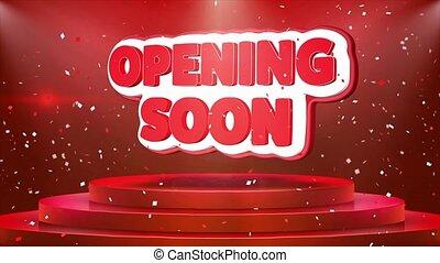 ouverture, texte, bientôt, podium, animation, confetti, boucle, étape