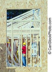 ouverture, trhough, cadre, fenêtre, métier, bois, vu, construction