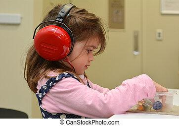 ouvindo, cheque, para, pre-escola, crianças