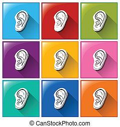 ouvindo, sentido, ícones