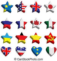 ouvir, bandeiras, estrelas, forma